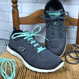 Skech Knit Sketchers Gray Tennis Shoes Size 9